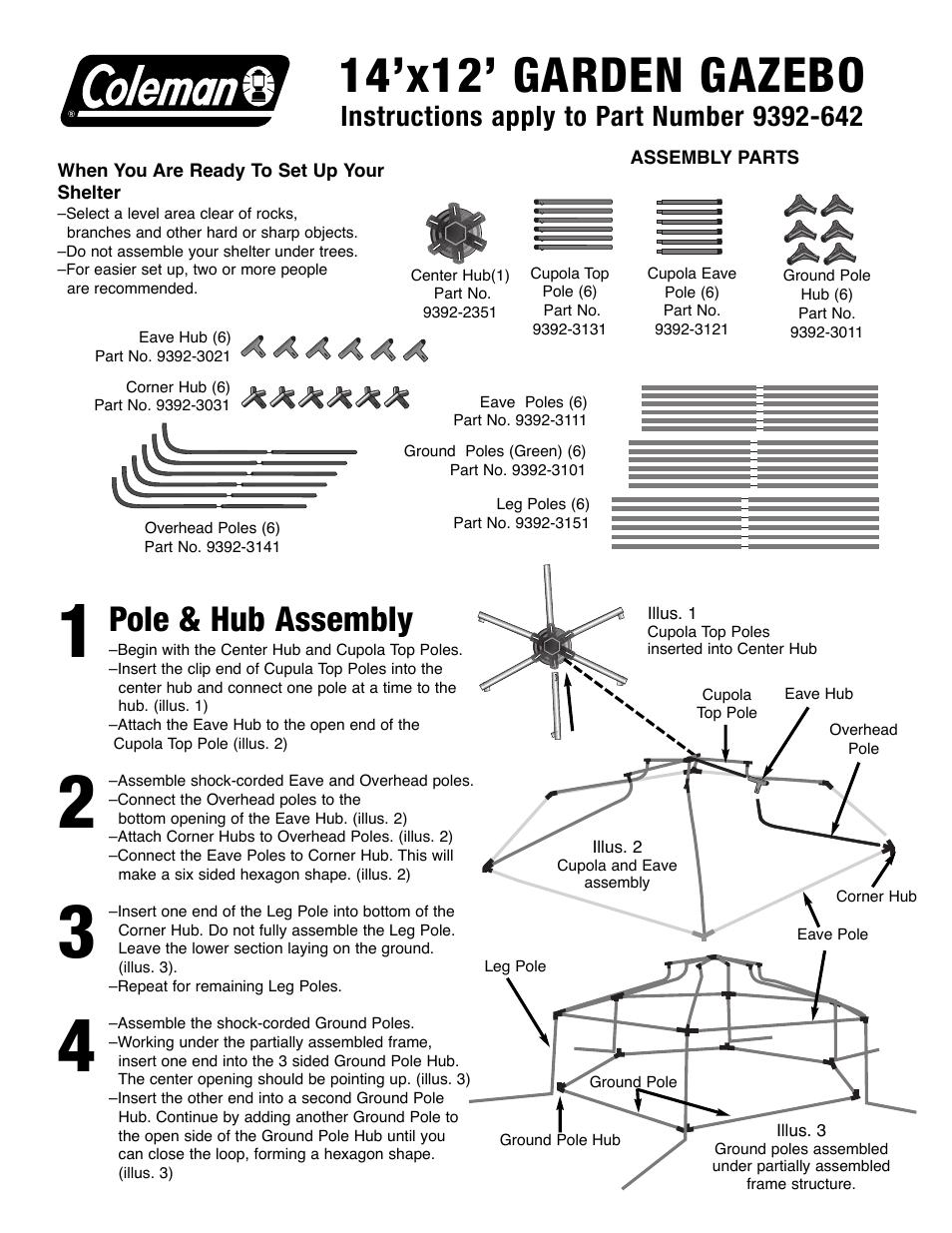 Coleman Garden Gazebo 14x12 User Manual 2 Pages
