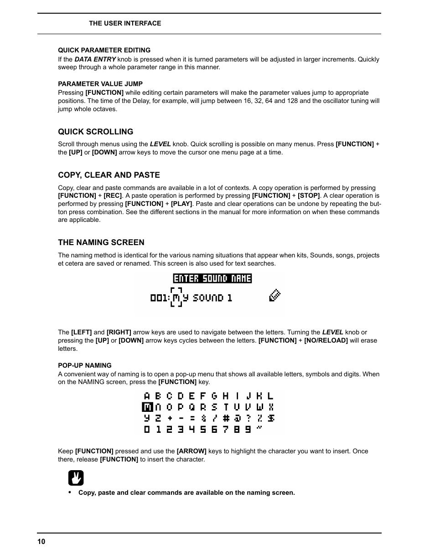 Quick parameter editing, Parameter value jump, Quick scrolling | Elektron  Analog Rytm User Manual | Page 18 / 106