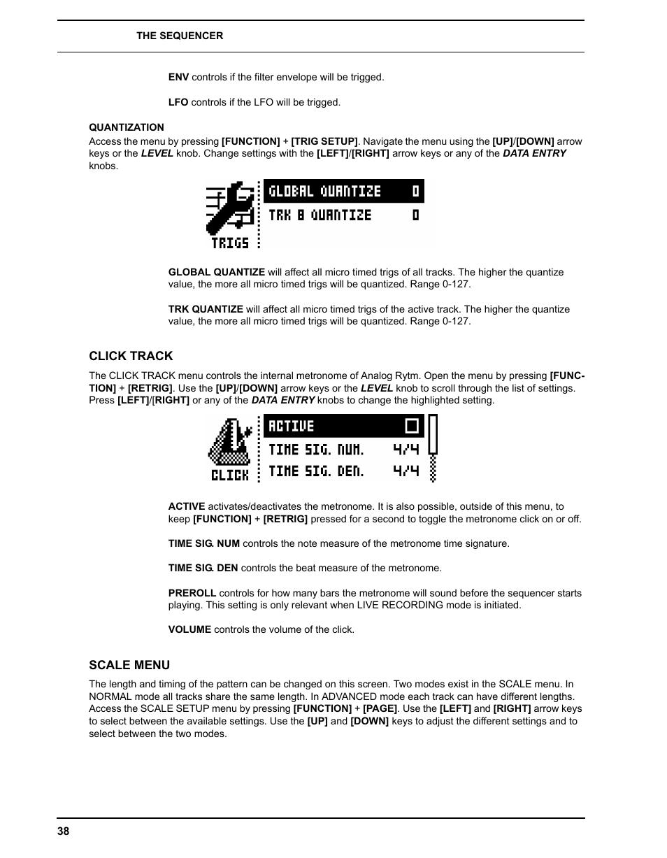 Quantization, Click track, Scale menu   Elektron Analog Rytm