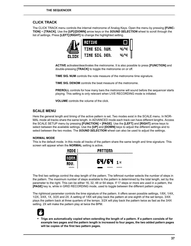 Click track, Scale menu, Normal mode | Elektron Analog Four