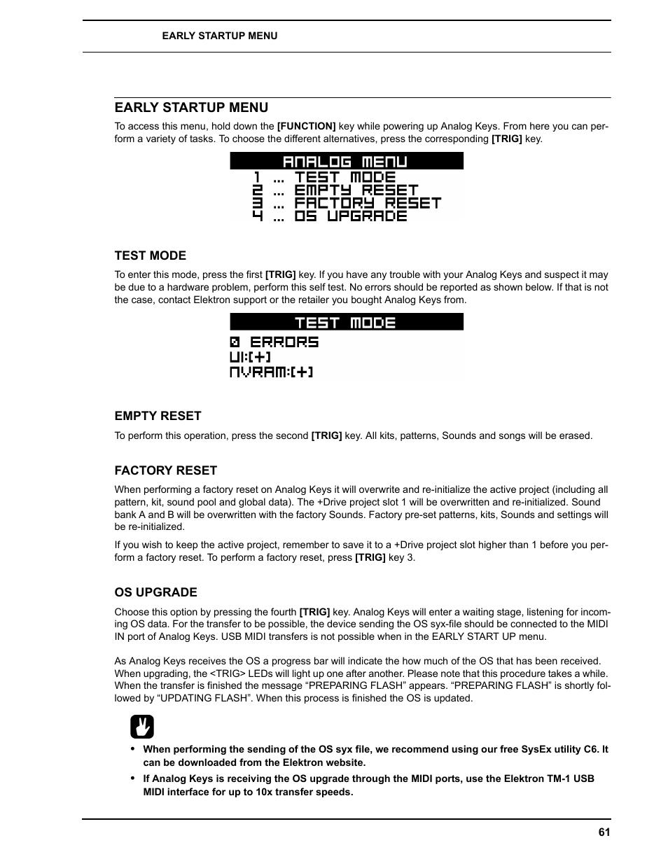 Early startup menu, Test mode, Empty reset | Elektron Analog Four
