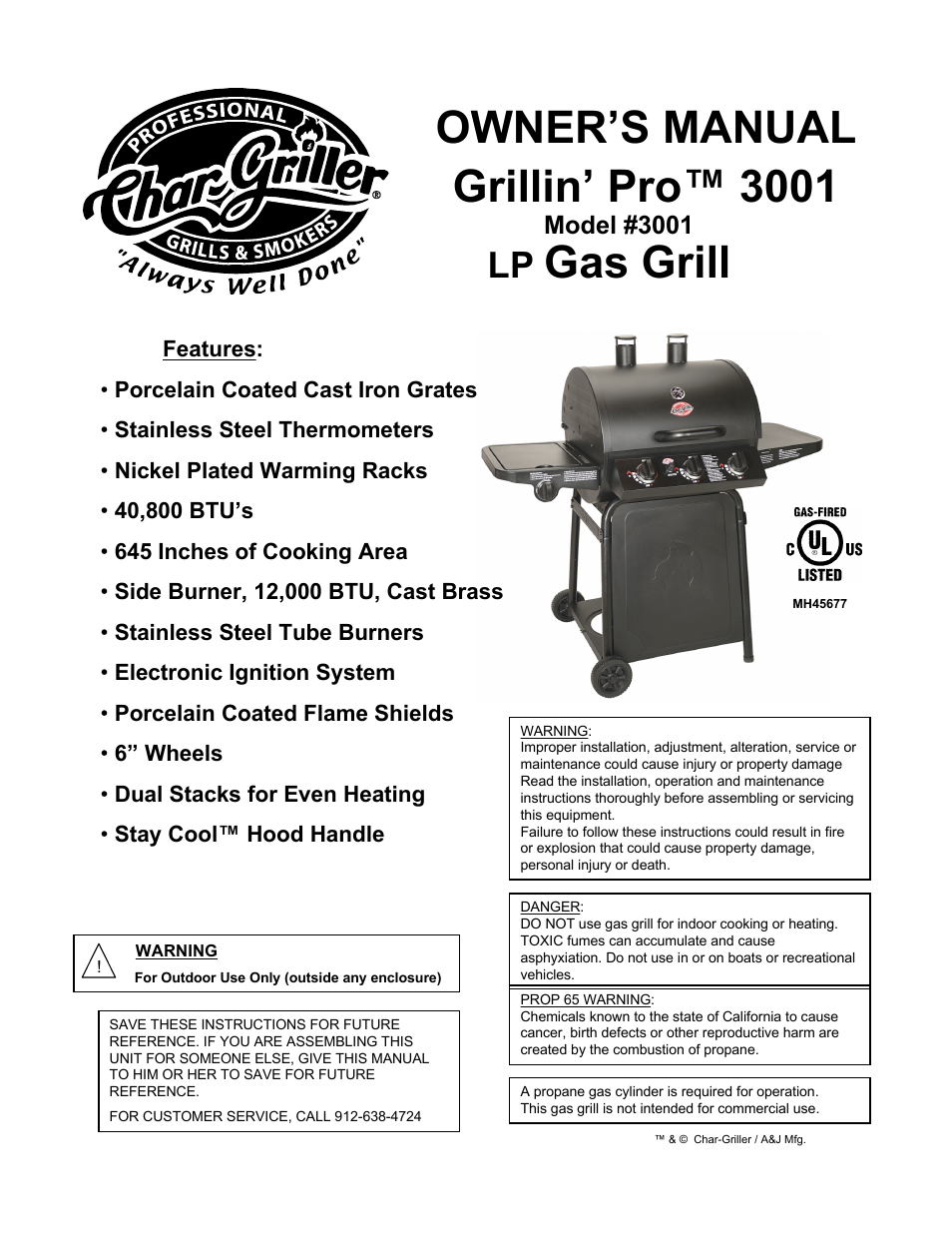 char griller lp gas grill grillin pro 3001 user manual