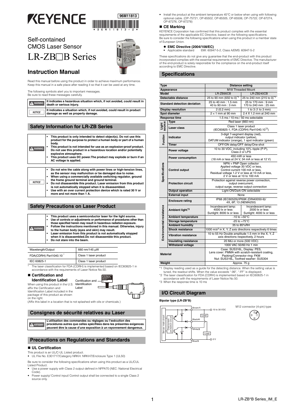 KEYENCE LR-ZBxxB User Manual | 3 pages