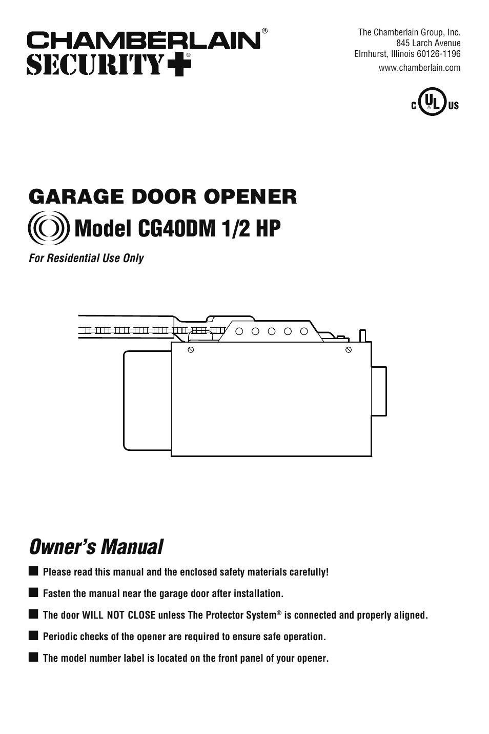 Chamberlain Cg40dm User Manual 40 Pages Garage Door Opener Schematic