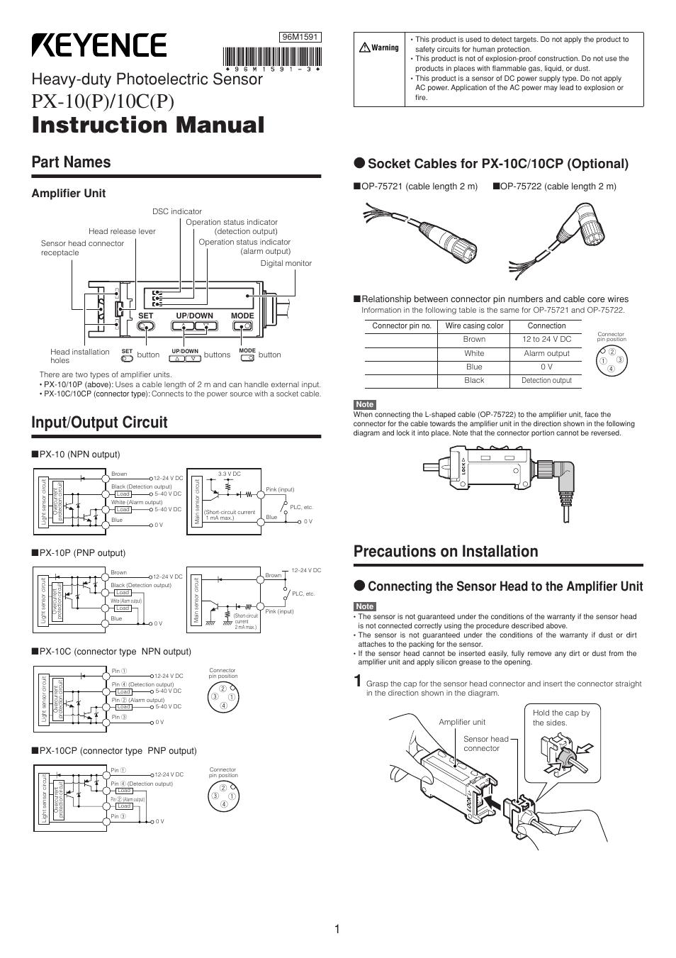 Keyence Px 10 User Manual Pages Dc Pnp Wiring Diagrams