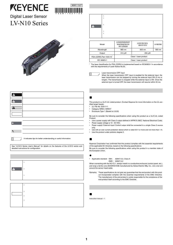 Keyence Lv N10 Series User Manual 12 Pages