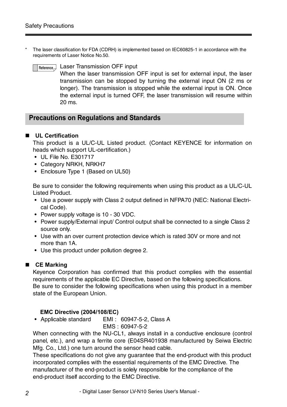 Precautions on regulations and standards | KEYENCE LV-N10