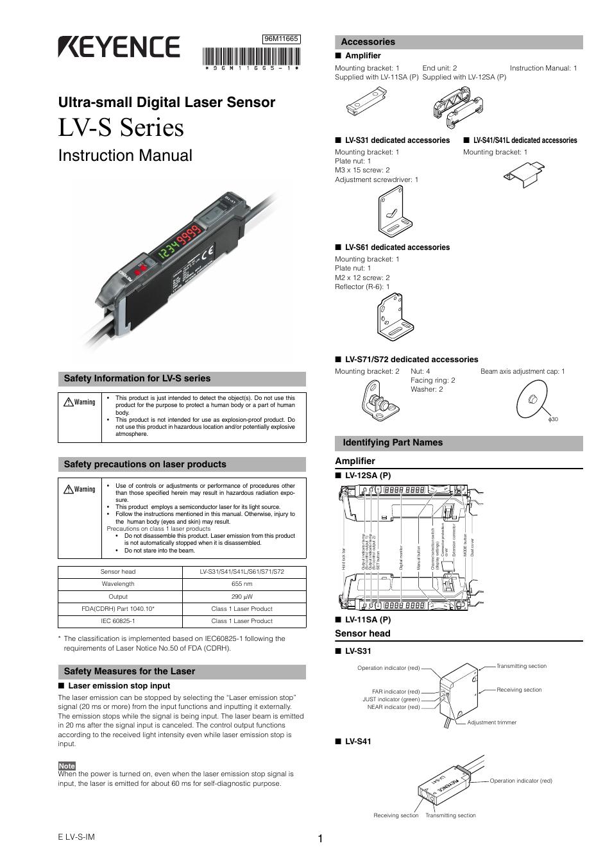 Keyence Lv Sa User Manual 10 Pages