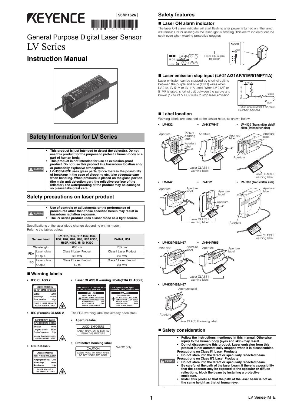 Keyence Lv Series User Manual 10 Pages Wiring Diagram