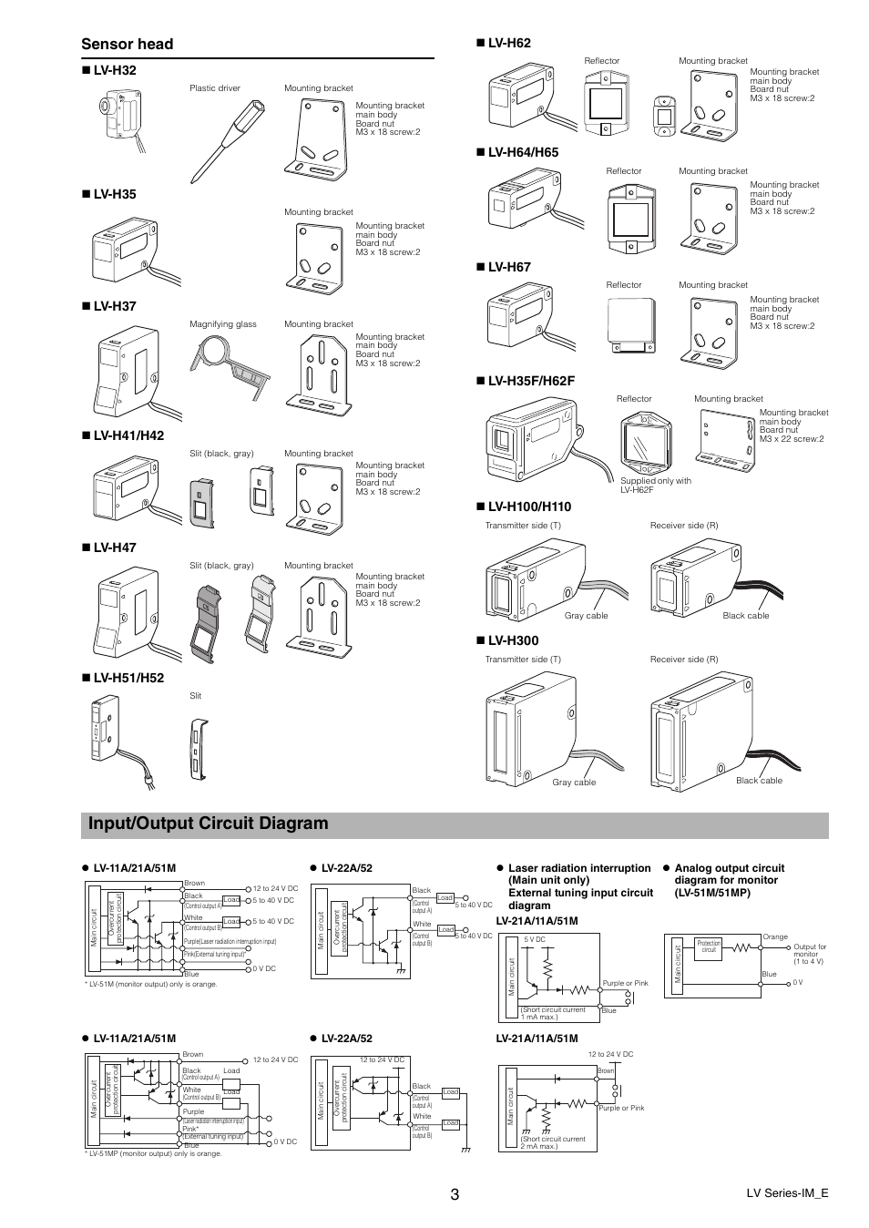 input output circuit diagram sensor head lv series im e. Black Bedroom Furniture Sets. Home Design Ideas