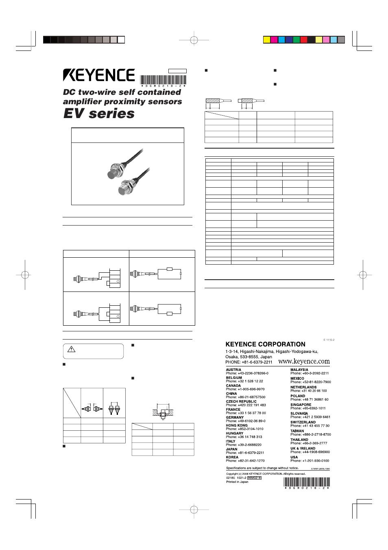 KEYENCE EV130MU User Manual 1 page – Keyence Nsor Wire Diagram