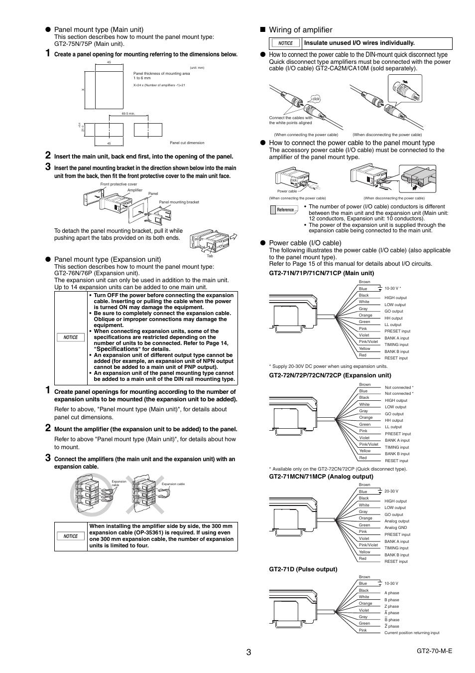 wiring of amplifier panel mount type main unit panel mount type rh manualsdir com
