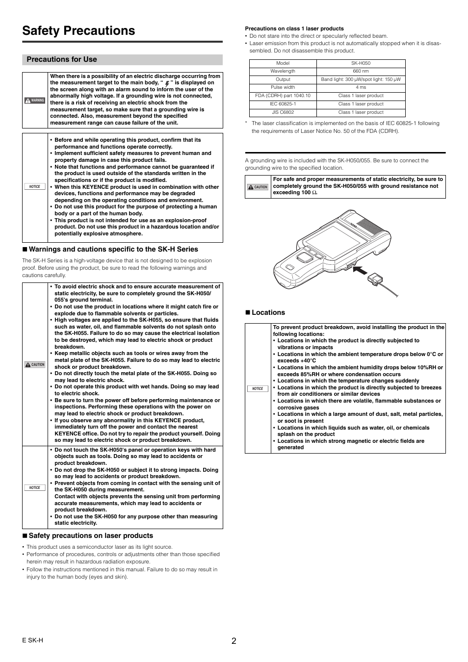 Safety precautions, Precautions for use | KEYENCE SK-H Series User Manual | Page 2 / 12