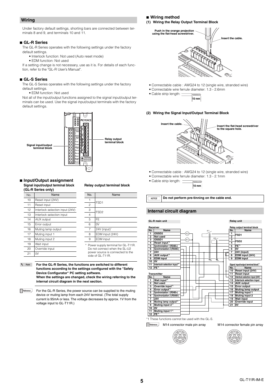 wiring internal circuit diagram gl r series keyence gl t11r user rh manualsdir com