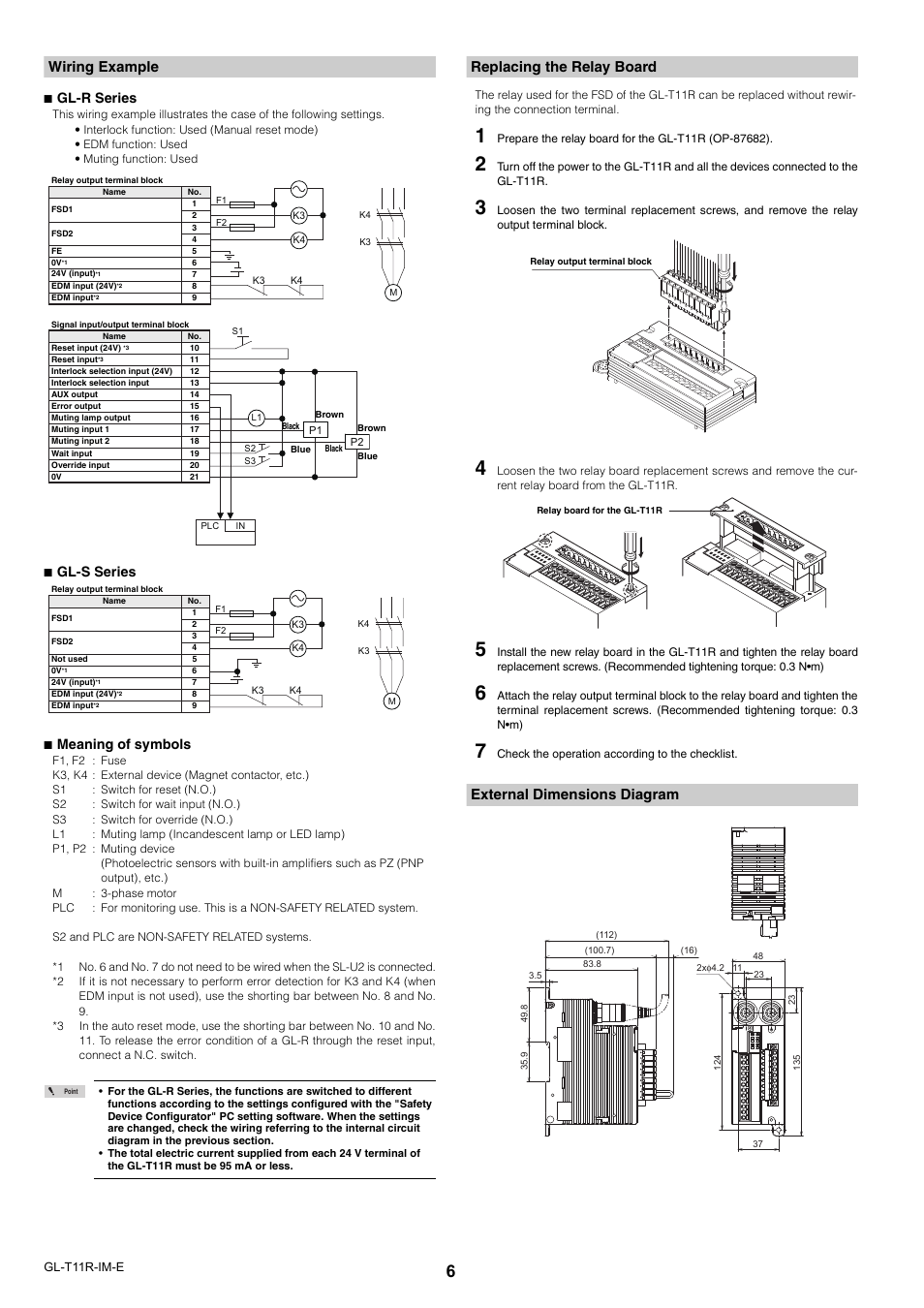 Wiring Example Replacing The Relay Board External Dimensions Terminal Diagram Keyence Gl T11r User Manual Page 6 8