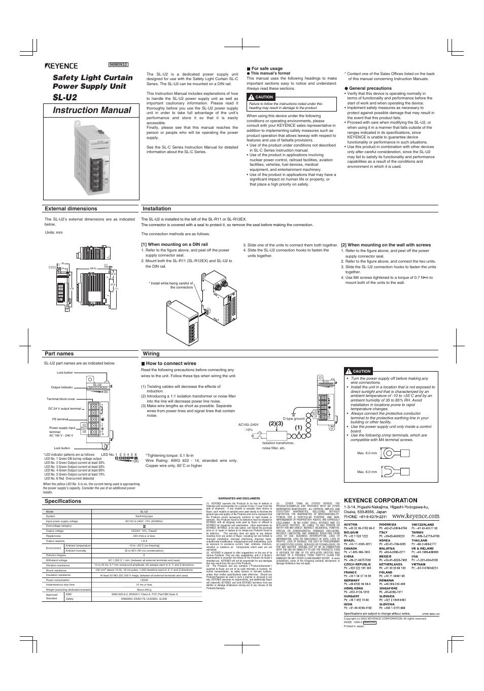 Keyence Sl U2 User Manual 2 Pages Wiring Diagram