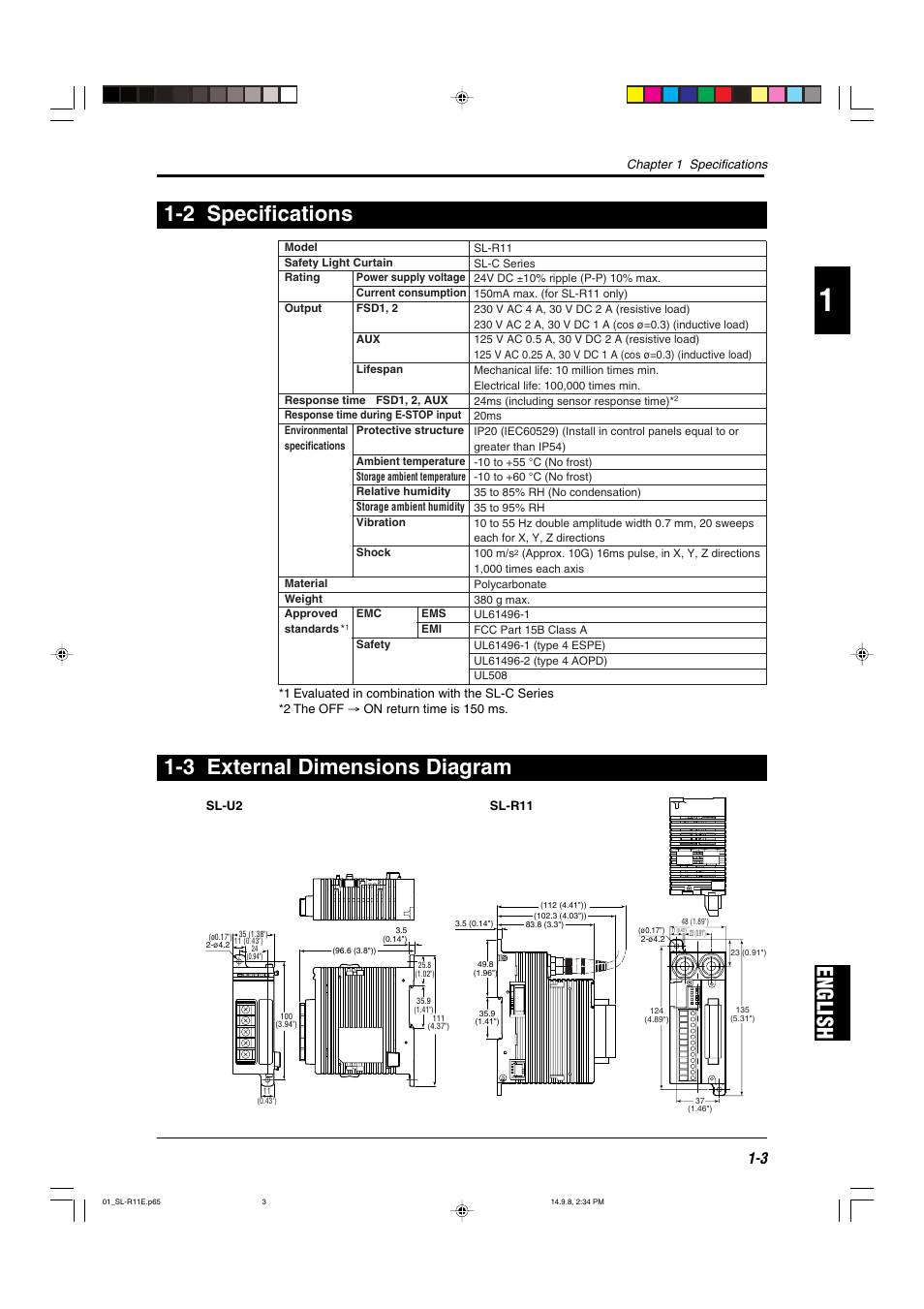 2 Specifications  3 External Dimensions Diagram  English 1