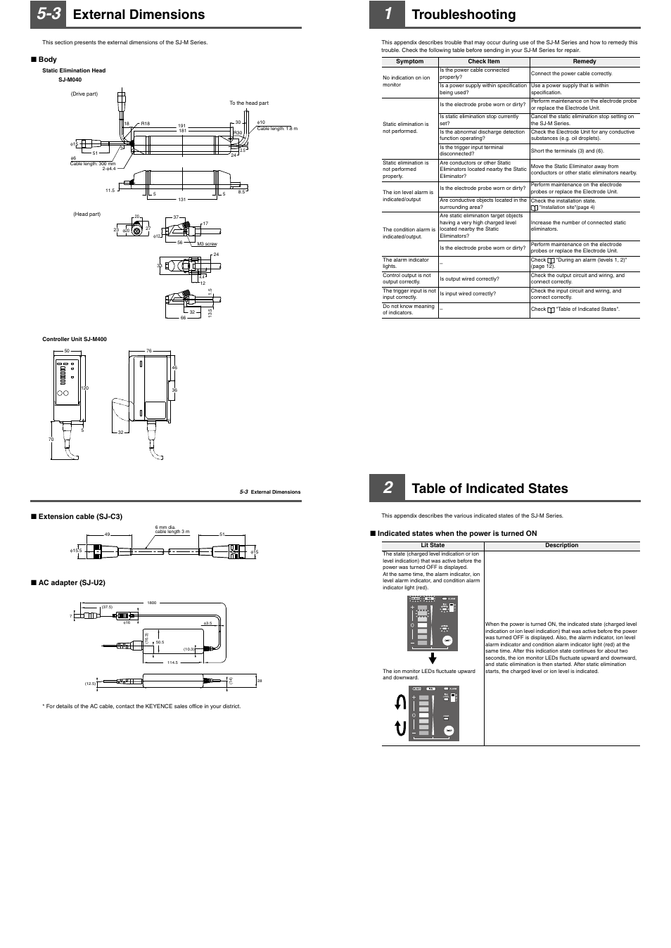 3 external dimensions, 1 troubleshooting, 2 table of indicated states    KEYENCE SJ-M400 User Manual   Page 11 / 14