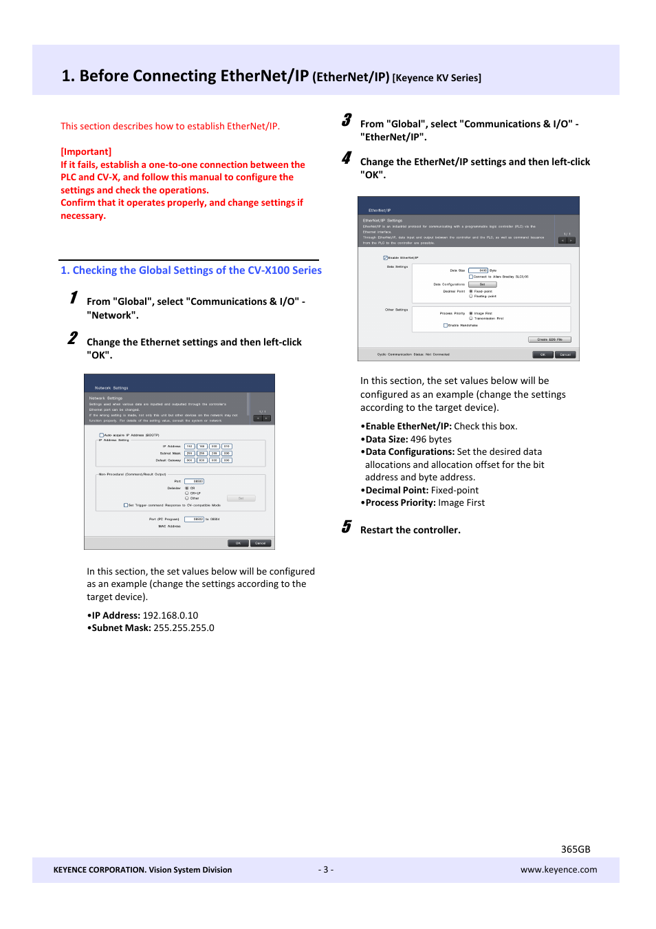 cv ok check Before connecting ethernet/ip | KEYENCE CV X Series User Manual