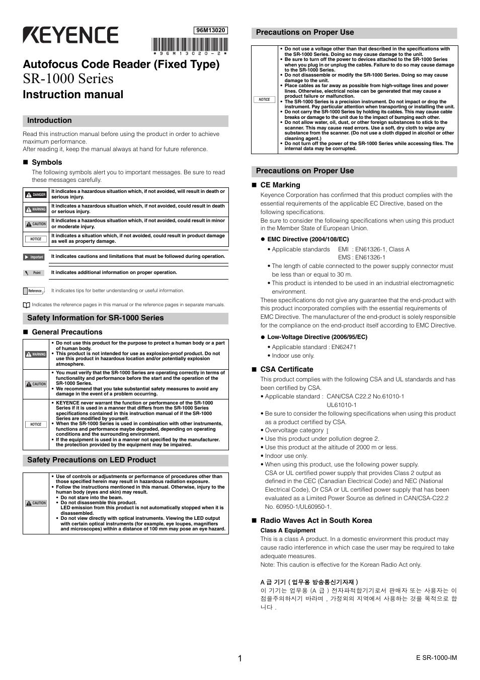 keyence sr 1000 series page1 keyence sr 1000 series user manual 6 pages KEYENCE SR1000 Mounting at mifinder.co