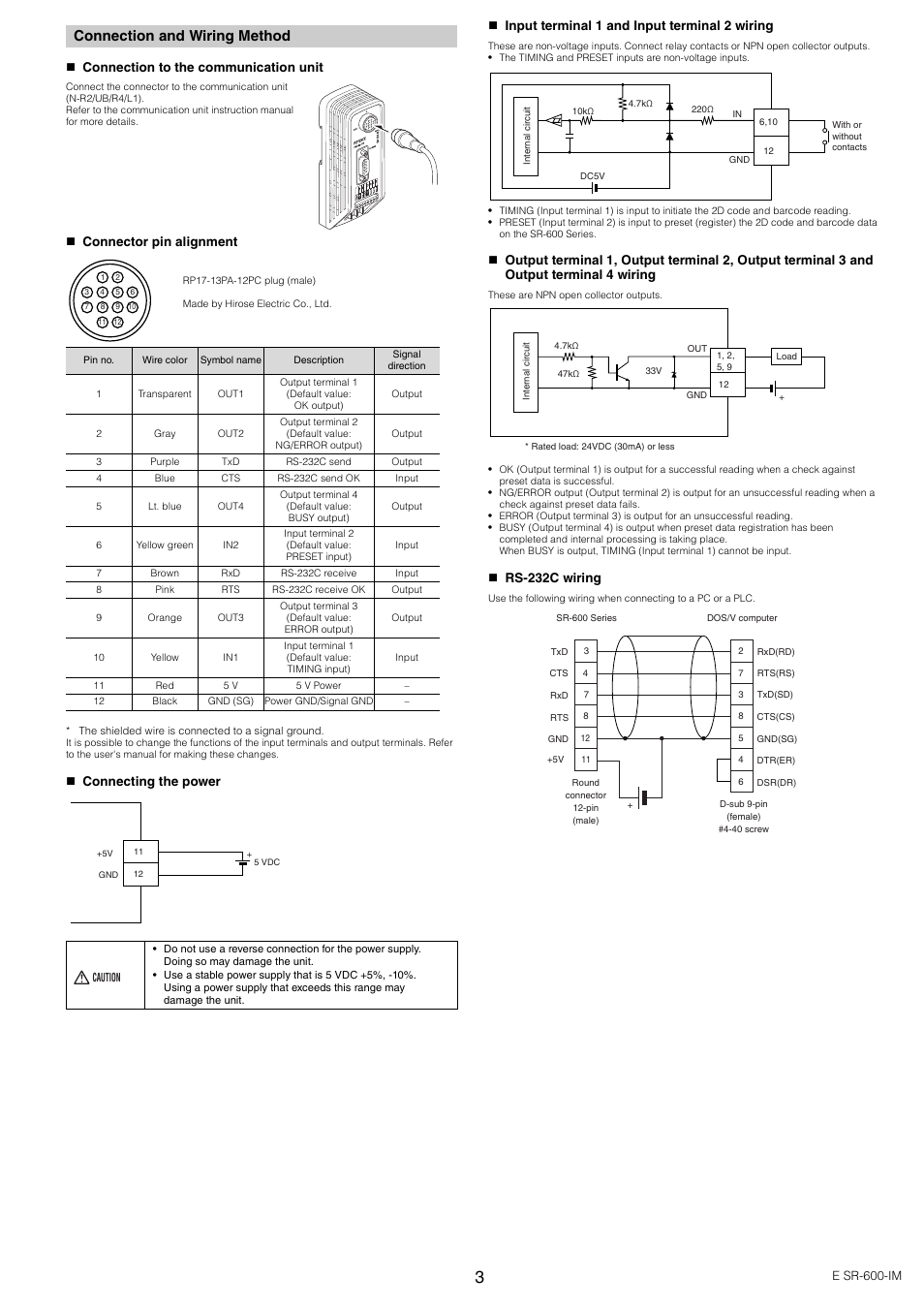 connection and wiring method keyence sr 600 series user. Black Bedroom Furniture Sets. Home Design Ideas