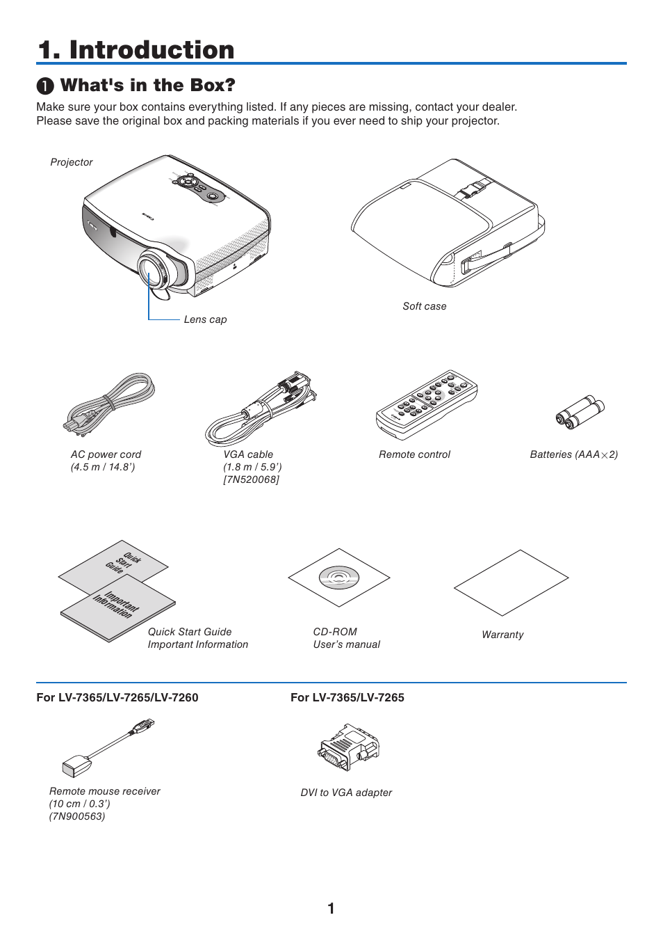 Introduction, What's in the box, Important information   Canon LV 7365 User  Manual   Page 10 / 83