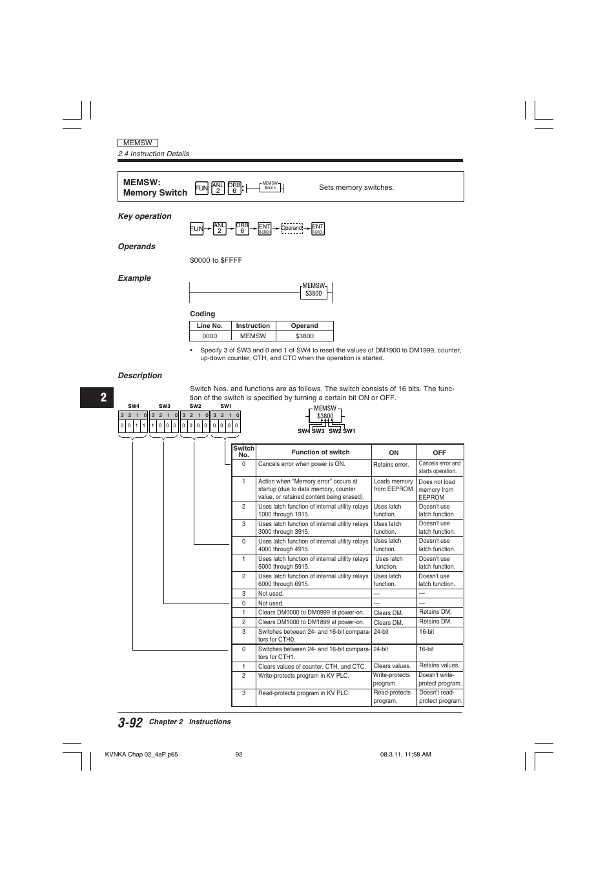 Memsw:memory switch   KEYENCE Visual KV Series User Manual   Page 116 / 392