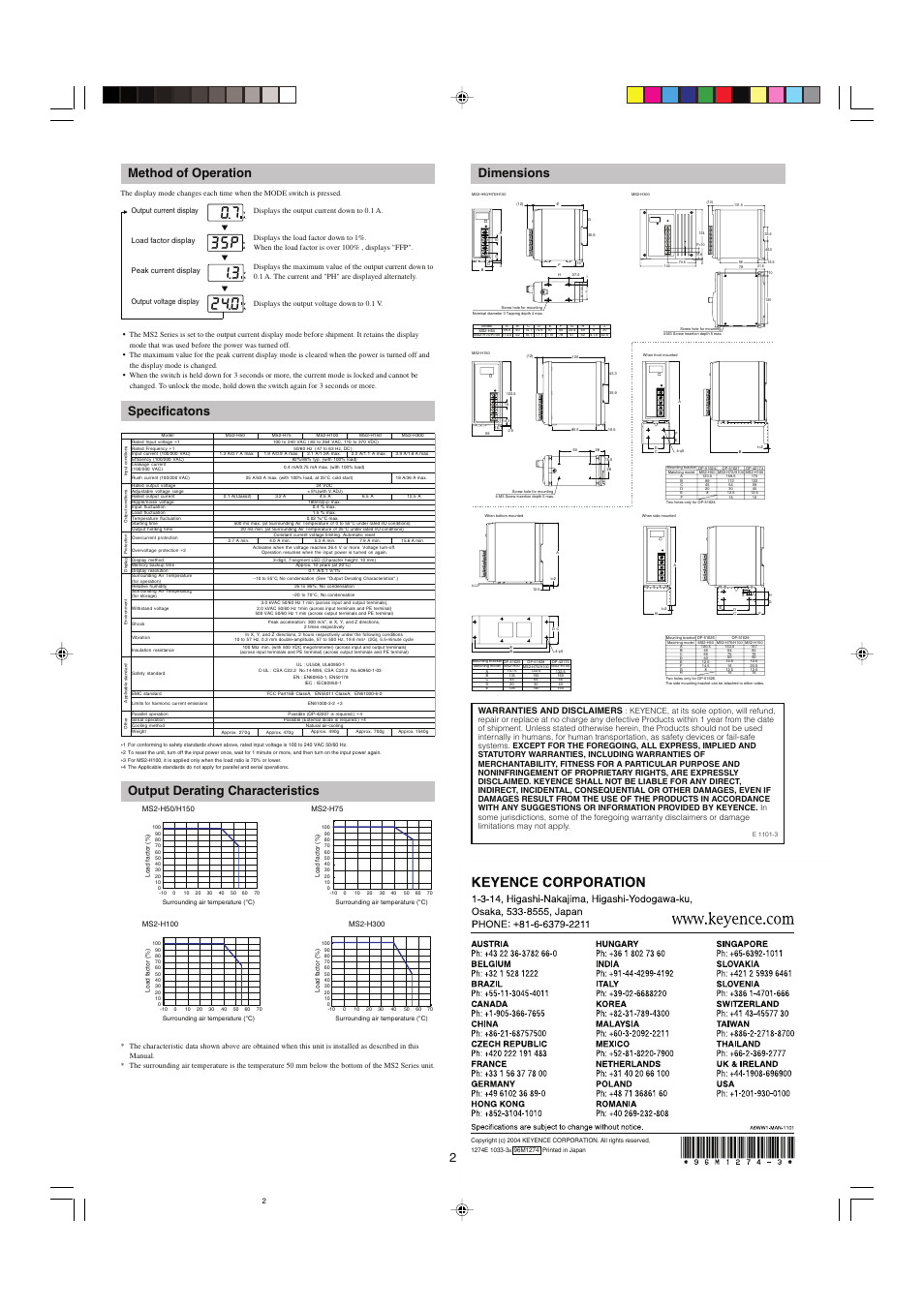 Method of operation, Specificatons, Output derating characteristics |  KEYENCE MS2 Series User Manual | Page 2 / 2