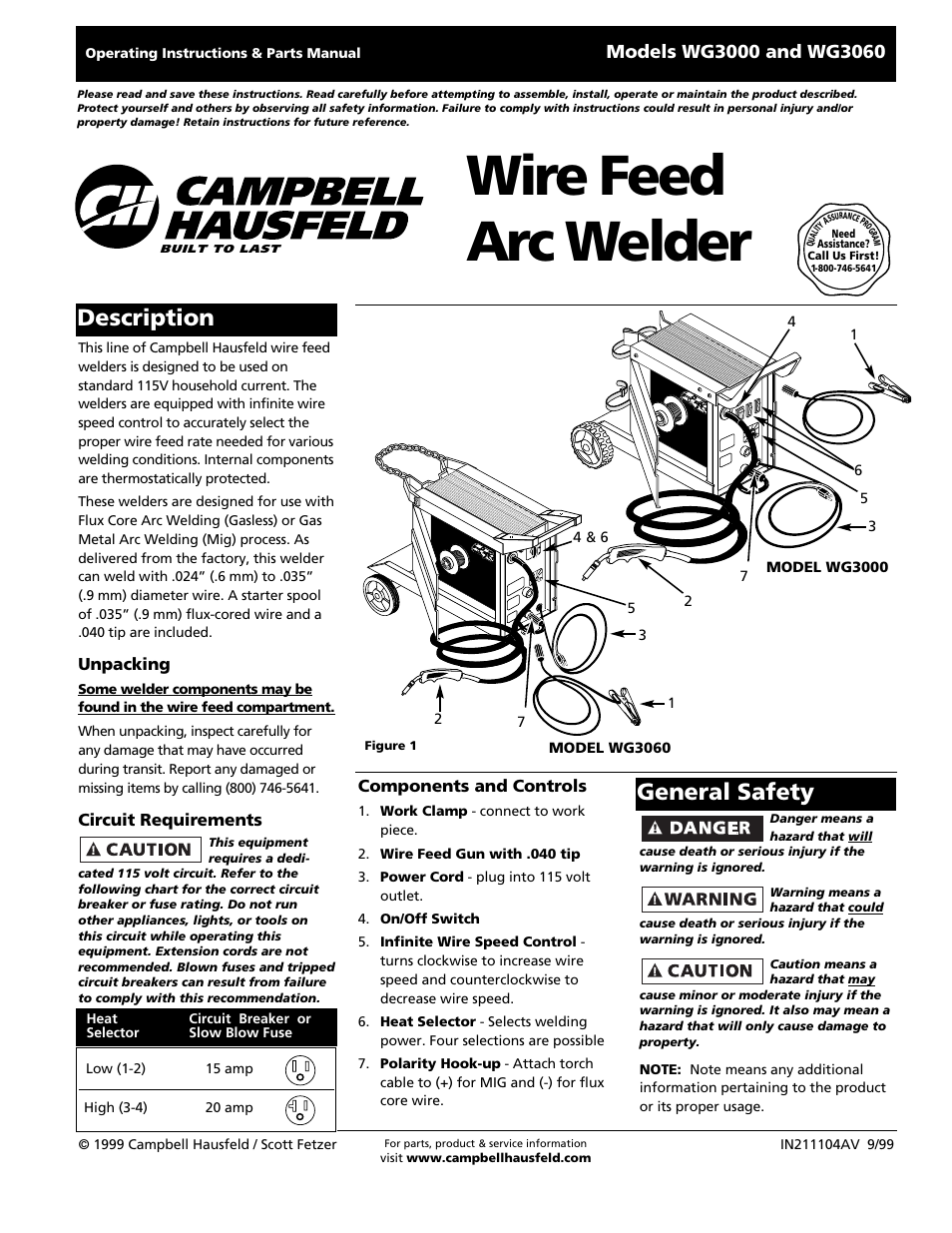 Campbell Hausfeld Wg3060 User Manual 48 Pages Also For Wg3000 20 Amp 120 Volt Plug Wiring Diagram