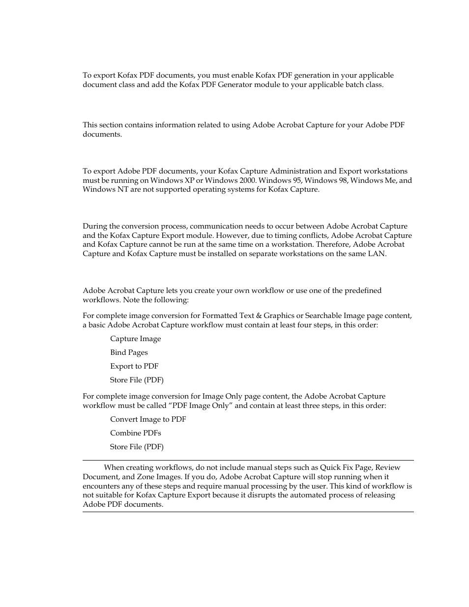 Kofax pdf options, Adobe acrobat capture options, Operating