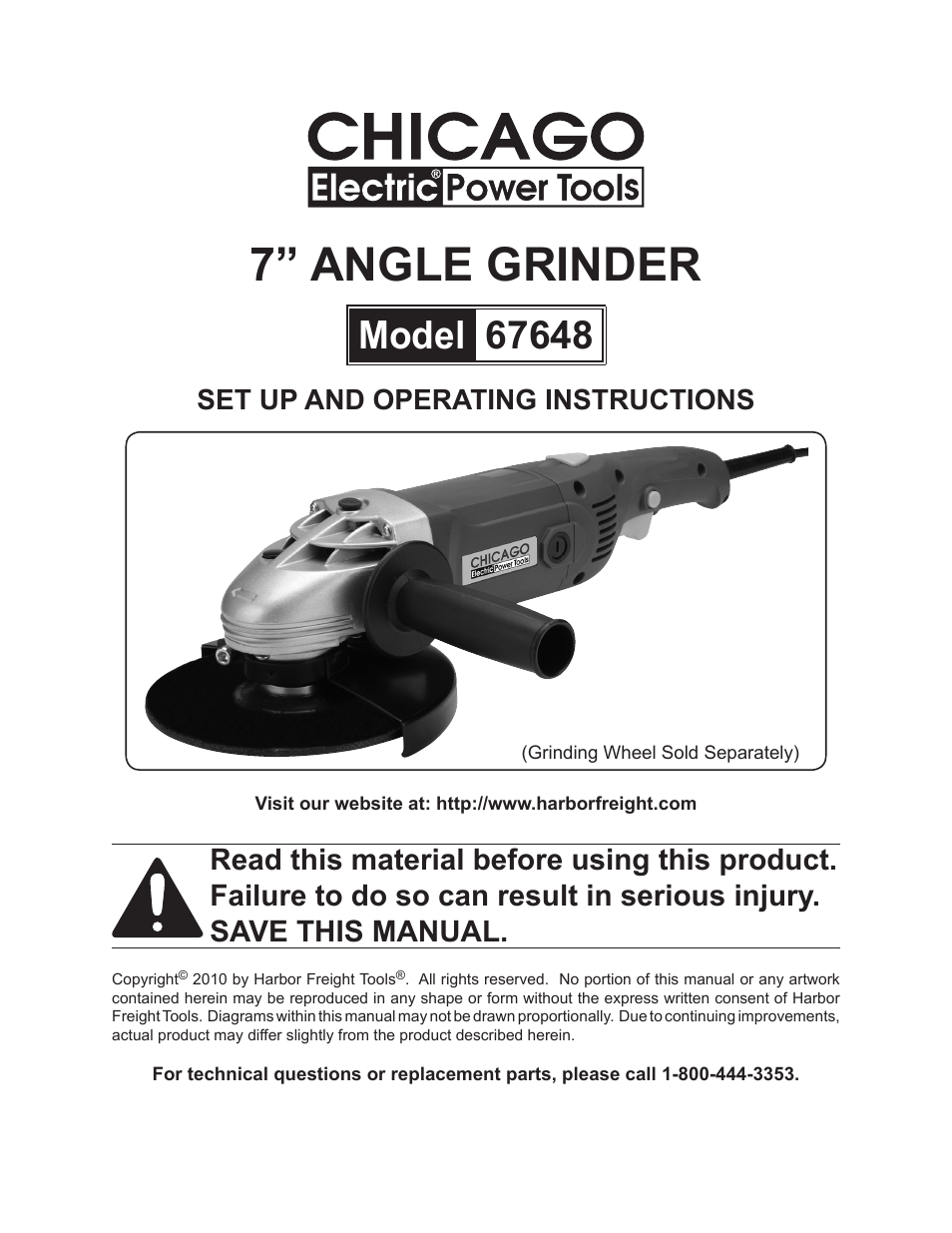 Chicago Electric Angle Grinder Parts ~ Chicago electric power tools quot angle grinder user