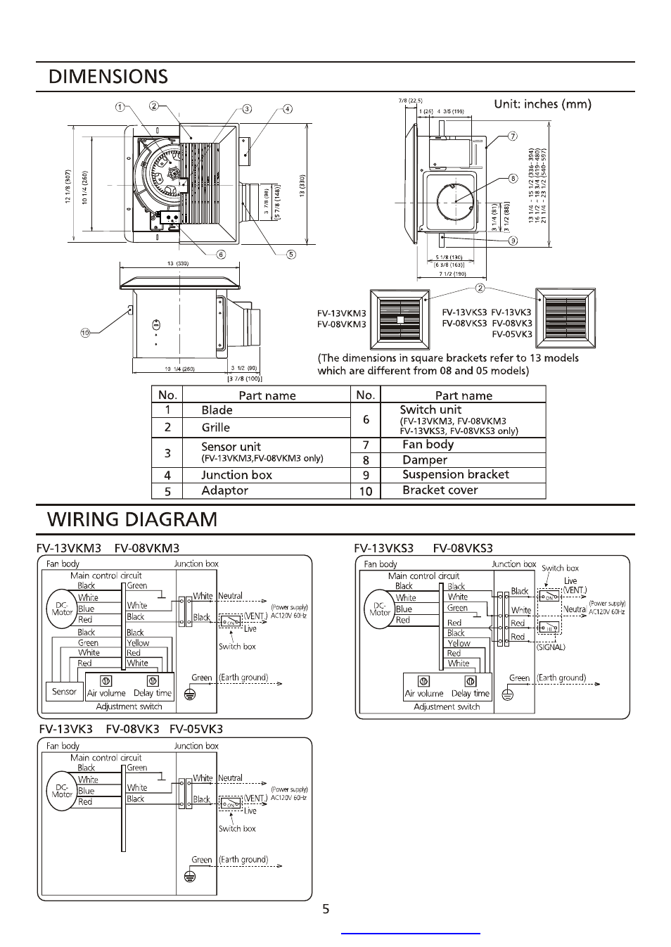 Dimensions  Wiring Diagram