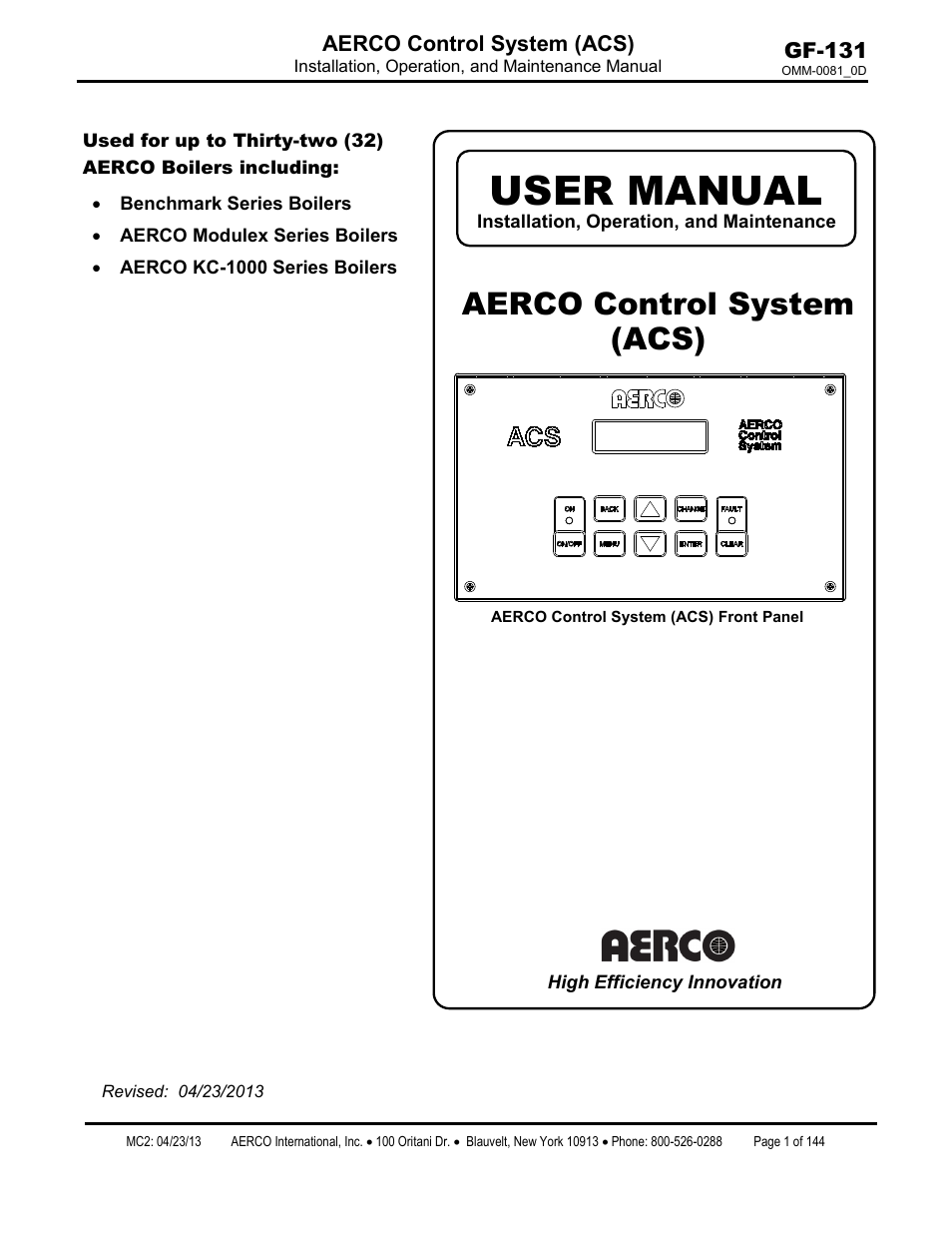Aerco Boiler Wiring Diagram Tools Control System Acs User Manual 144 Pages Rh Manualsdir Com Taco Zone Valve