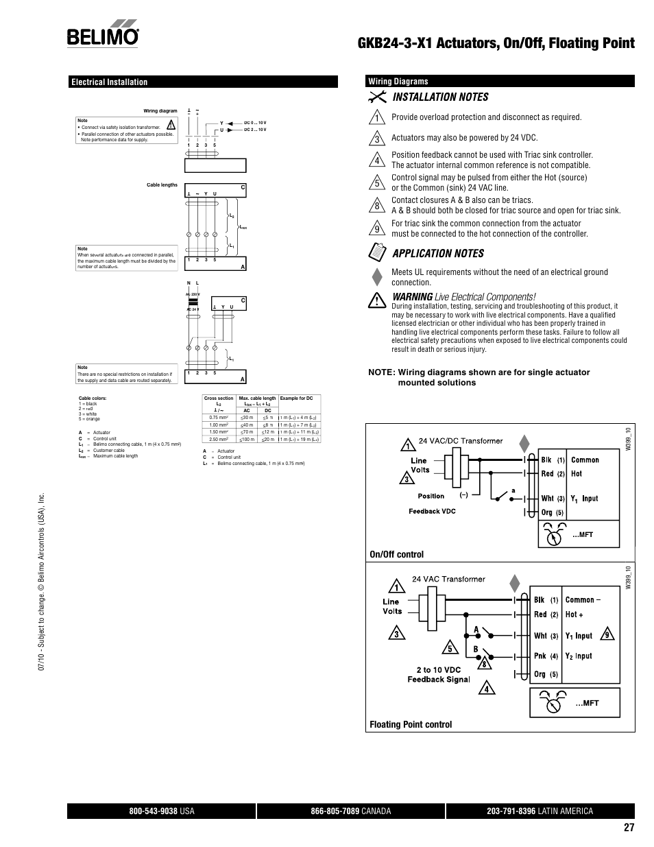 Gkb24 3 X1 Actuators On Off Floating Point Warning Live Triac Valve Wiring Diagram Electrical Components G Control L Aerco Belimo F7hd Hdu Series User Manual Page 27 44