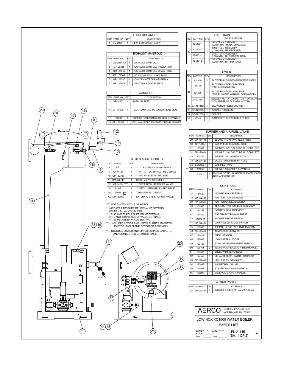 Appendix f, Aerco, Parts list low nox kc1000 water boiler
