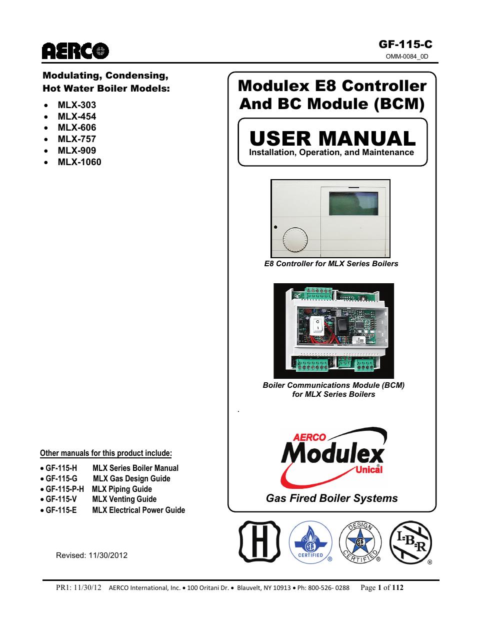 Aerco Modulex E8 Controls Guide User Manual
