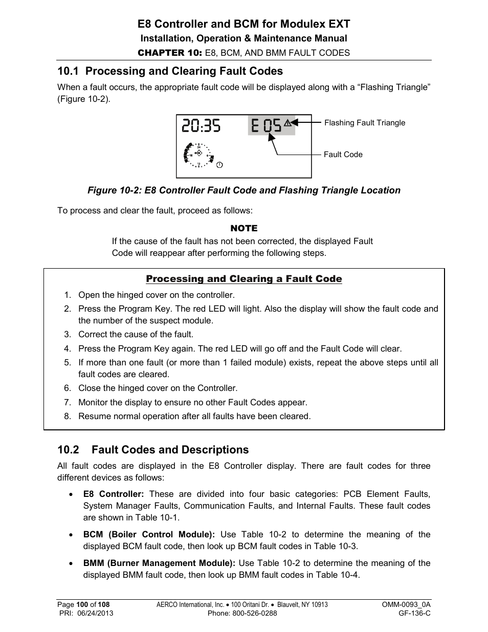 1 processing and clearing fault codes, 2 fault codes and