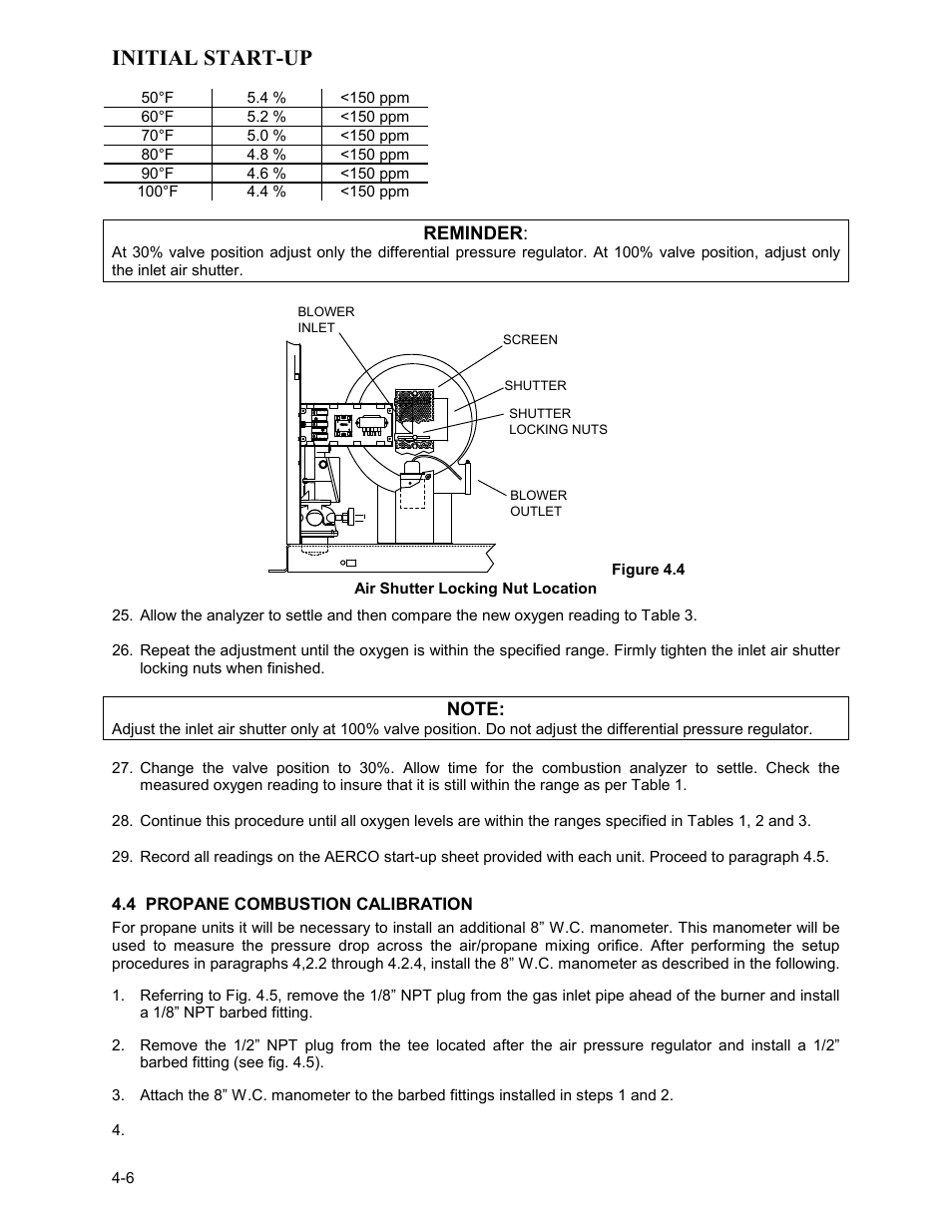 air shutter locking nut location 4 propane combustion calibration rh manualsdir com  manual combustion air pipe dampers