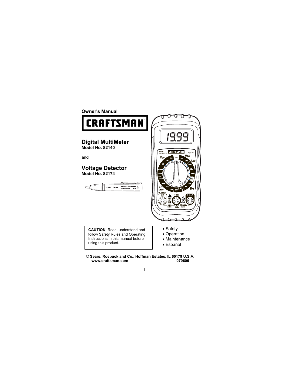 Craftsman 82140 User Manual 21 Pages Also For 82174