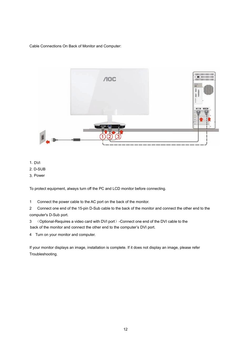 connecting the monitor aoc e2043fk user manual page 11 63 rh manualsdir com AOC Flat Panel Monitor AOC Monitor Controls