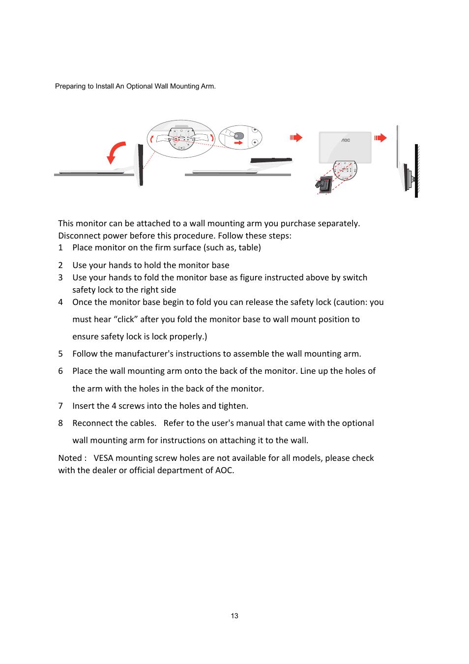 wall mounting aoc e2043fk user manual page 12 63 rh manualsdir com Adjust AOC Monitor AOC Monitor Controls