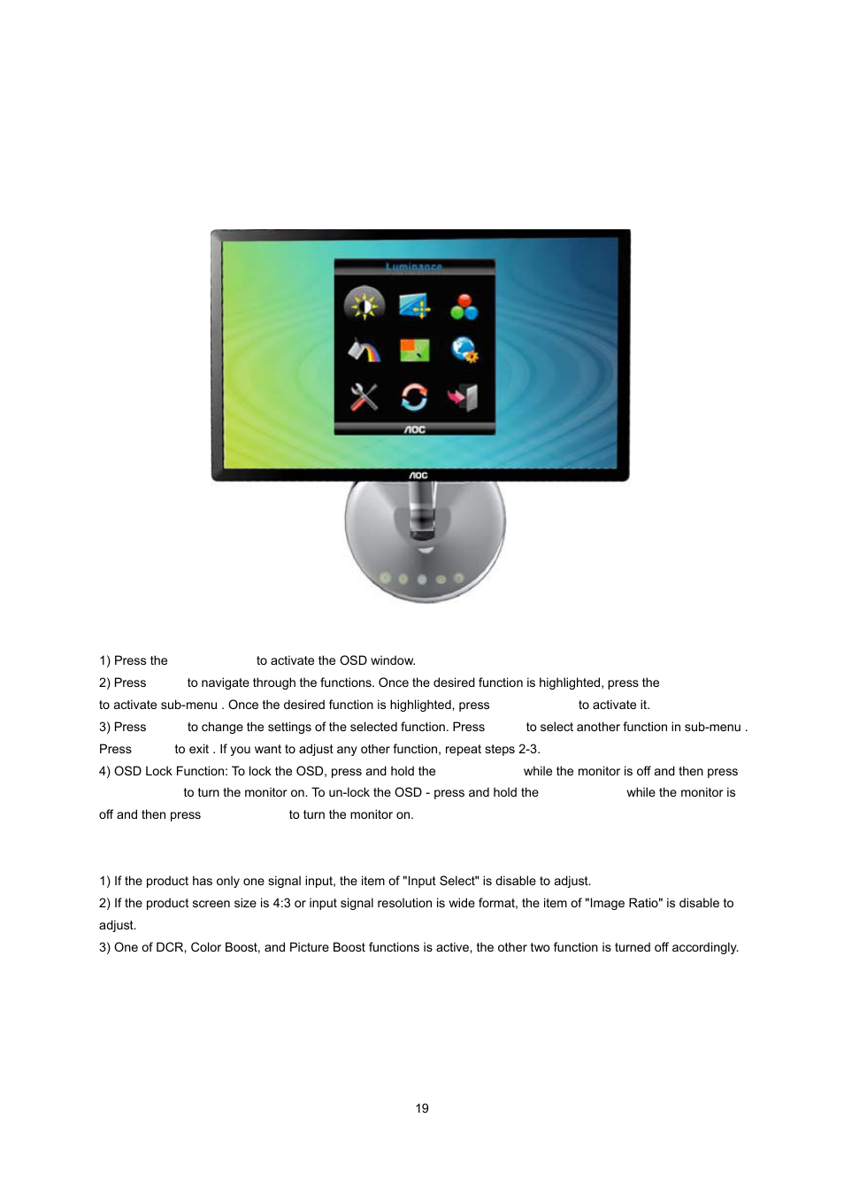 osd setting aoc e2043fk user manual page 18 63 rh manualsdir com AOC Flat Panel Monitor Adjust AOC Monitor