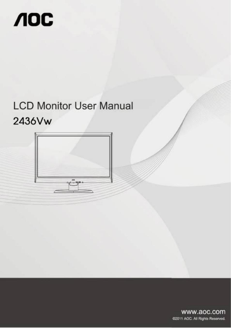 aoc 2436vw user manual 61 pages rh manualsdir com