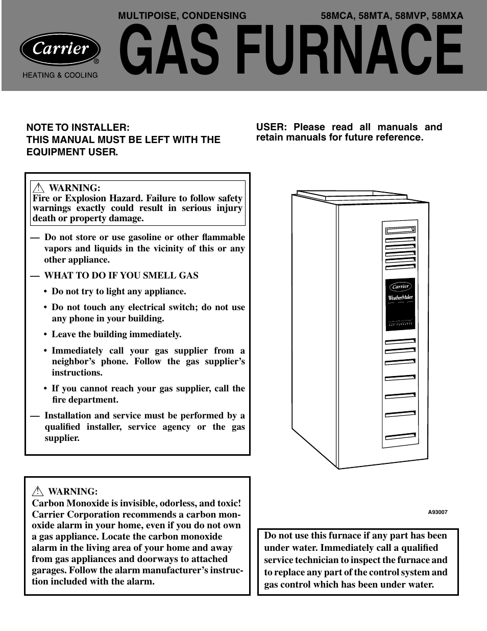 Carrier Weathermaker Infinity 58mca User Manual 12 Pages