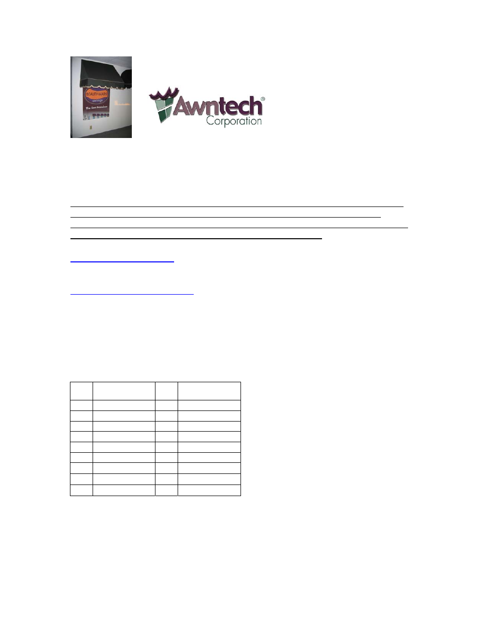 Awntech Sanfrancisco Series User Manual 8 Pages