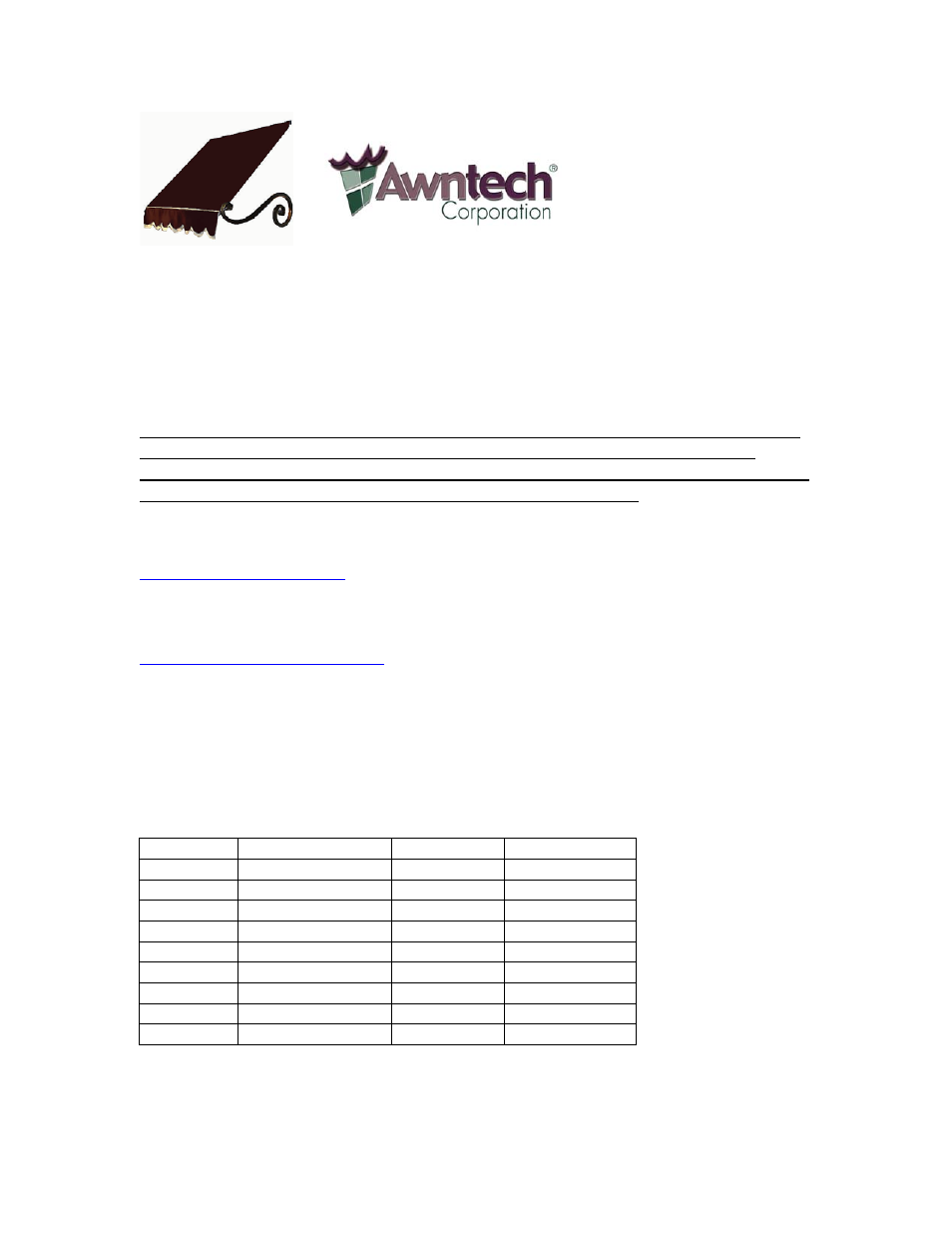 Awntech Charleston Series User Manual 7 Pages