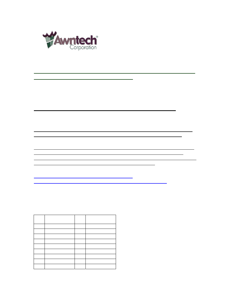 Awntech Neworleans Series User Manual 8 Pages