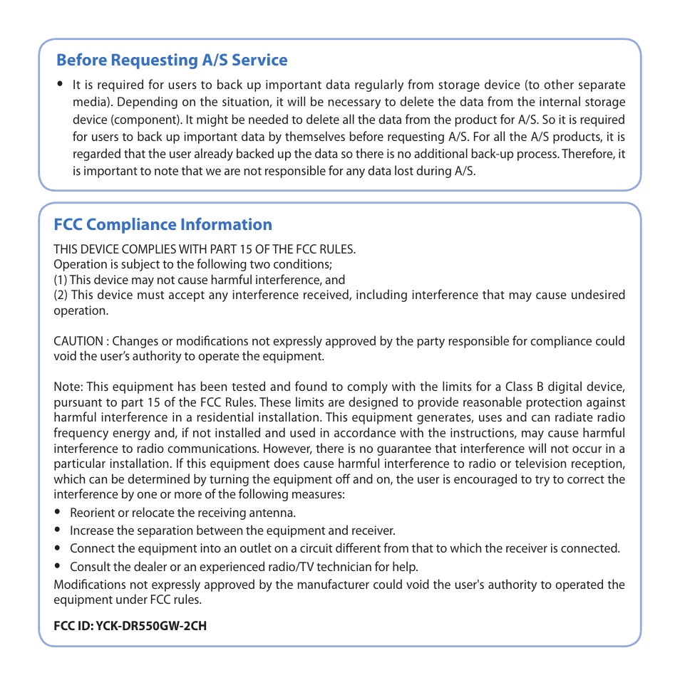 Before requesting a/s service, fcc compliance information.