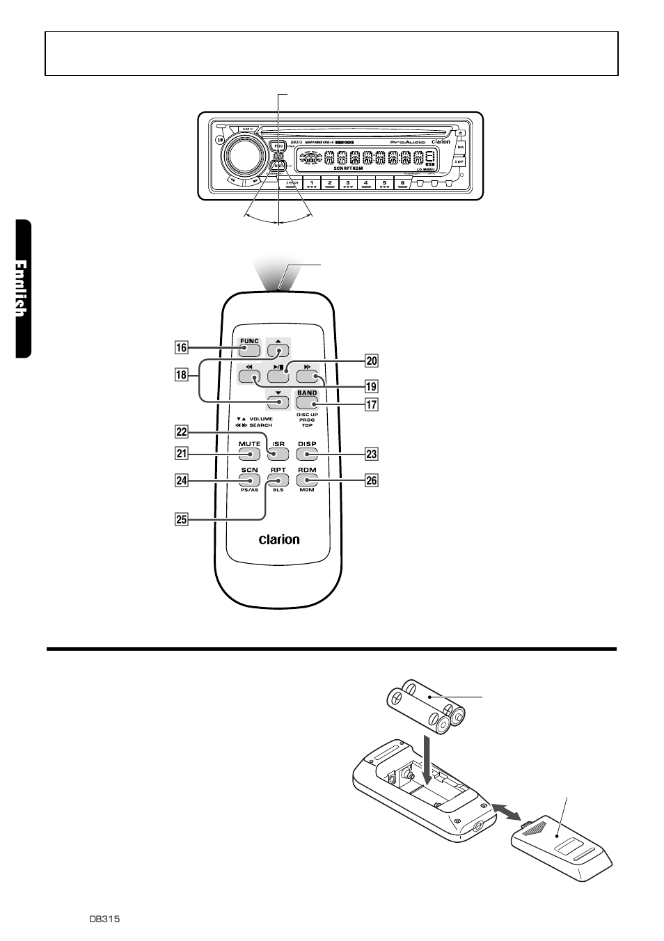 Remote control, English, Inserting the batteries | Clarion DB315 ...