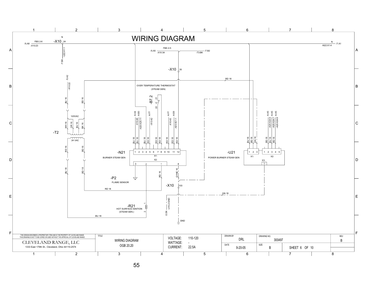 Pg 6, Wiring diagram, Cleveland range, llc | B7. 2, Voltage